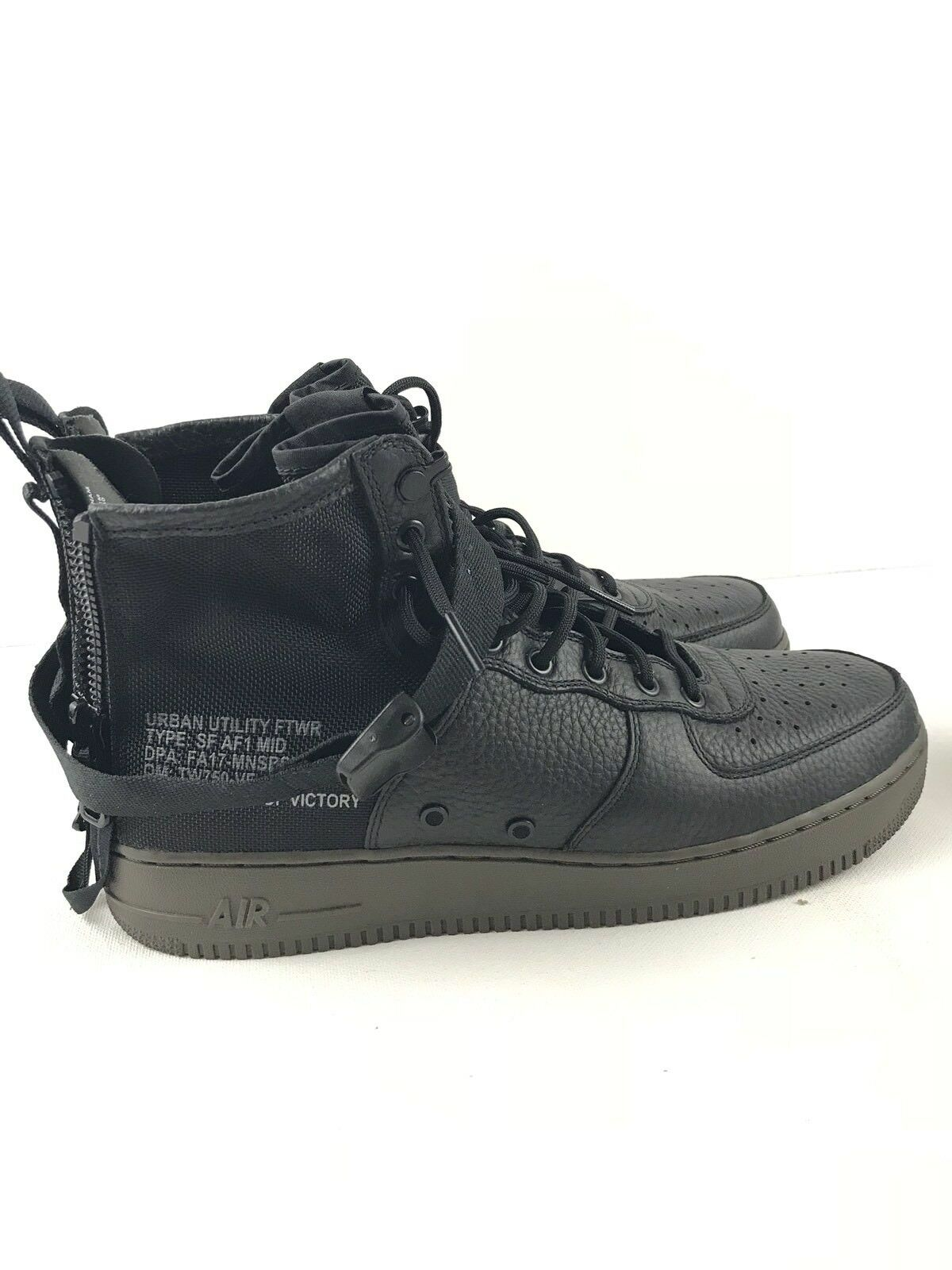 Nike SF AF1 Mid Special Field Zip Black Dark Hazel Air Force 917753-002 Sz 12