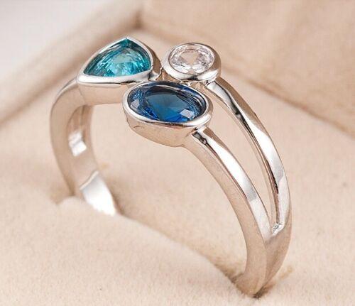 GENUINE SILVER 925 BLUE CLASSIC ATTRACT ELEGANCE ELEGANT RING SIZE 56  SALE !!