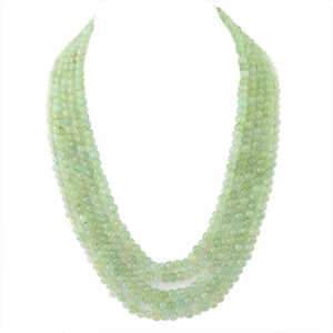 575-00-CTS-NATURAL-5-LINE-RICH-GREEN-AQUAMARINE-ROUND-BEADS-NECKLACE-BIG-DEAL