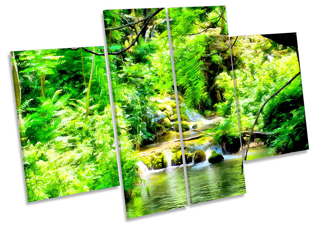 Grün Forest River Landscape Framed CANVAS PRINT Four Panel Wall Art