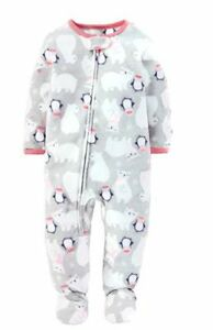 Child Of Mine Girl's 3t Or 4t Fleece Winter Polar Bear Penguin Footed Pajama By Scientific Process Girls' Clothing (newborn-5t)