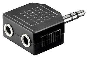 Audio-Klinken-Y-Adapter-Klinke-Stecker-3-5mm-auf-2x-Klinkenbuchse-stereo-schwarz