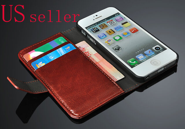 Genuine Luxury Real Leather Flip Wallet Case Cover For Apple iPhone 5 5S