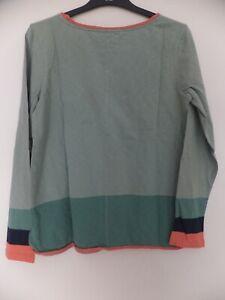 New Women's White Stuff Aqua Green Long Sleeve Round Neck Top Size UK 10