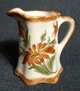"""Cash Family Pottery 4"""" Brown Floral Creamer Pitcher Hand Painted USA"""