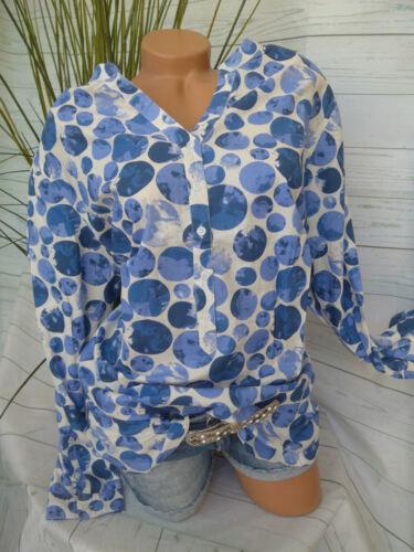 929 Sheego Blouse Tunique Taille 40-58 Beige Bleu Points son