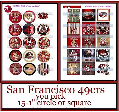 """San Francisco 49ers NFL Football 15-150  1/""""Precut  Bottle Cap Images for Jewelry"""