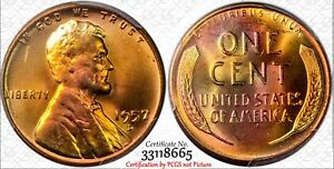1957-D-1C-PCGS-MS65RD-Monster-Toned-Lincoln-Wheat-Cent-RicksCafeAmerican-com