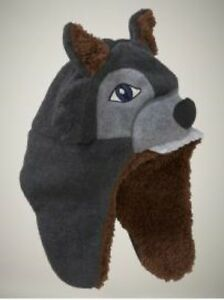 NWT-Baby-GAP-Fleece-Wolf-Hat-Soft-Sherpa-Lining-3-D-Costume-Design-Charcoal-NEW