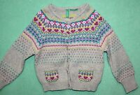 United Colors Of Benetton Sweater Cardigan Infant Girls Wool Blend Pink Heart