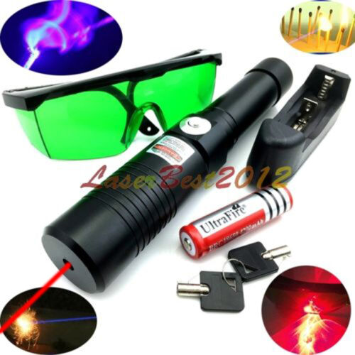 RX1 Adjustable Focus 650nm Red Laser Pointer Laser Beam /&Battery/&Charger/&Goggles