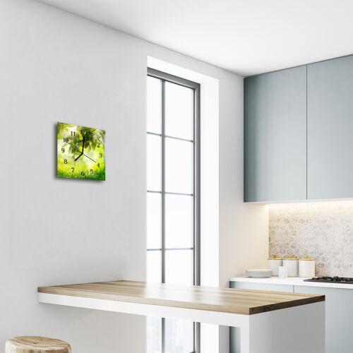 Glasuhr Wanduhr Küchenuhr Echt-Glas 30x30 cm Deko Apfelbaum grün