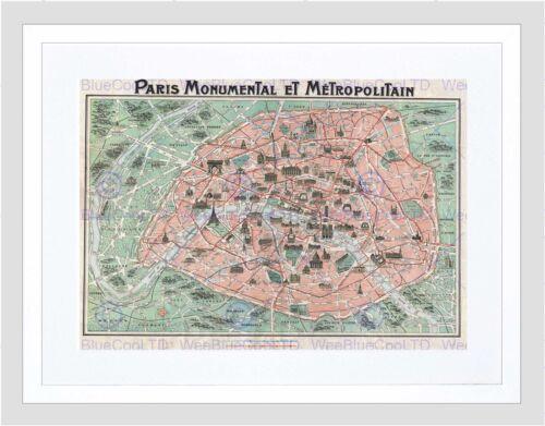 MAP ILLUSTRATED ANTIQUE ROBELIN PARIS FRAMED ART PRINT MOUNT B12X4973