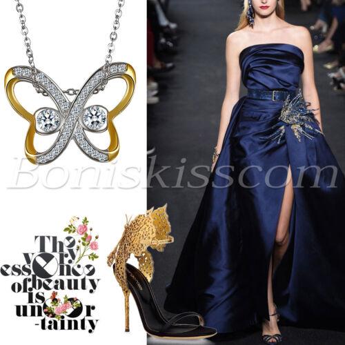 Femmes 925 Argent Sterling Zircone cubique Deux Tons Papillon Collier Pendentif