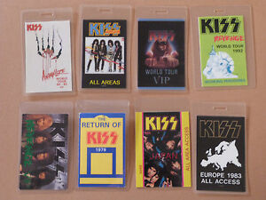 KISS-Collection-of-EIGHT-Laminated-Backstage-Tour-Passes-x8