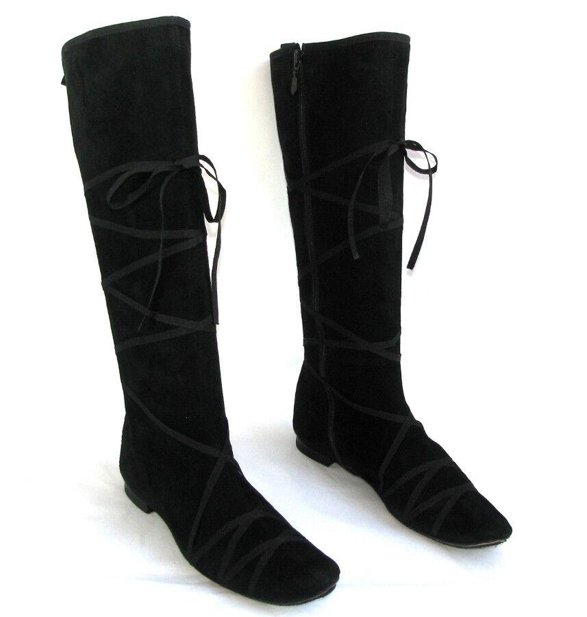 REPETTO Stiefel flach Reißverschluss Leder Samt schwarz 38   37