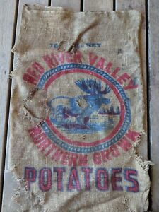 VINTAGE-burlap-Red-River-Valley-moose-sack-Potatoes-Northern-Grown-alot-of-holes