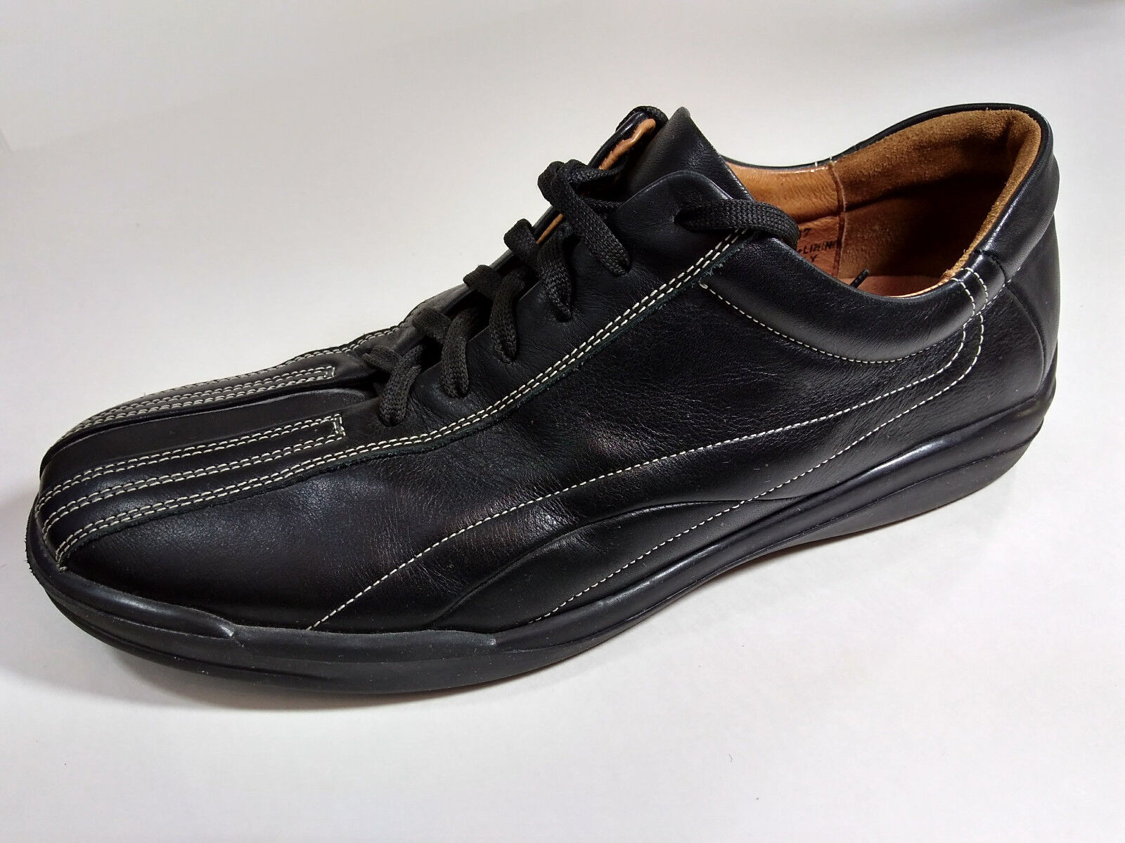Johnston & Murphy 8.5 M Black Leather Casual Oxford Sneakers Mens Italy 20-6707