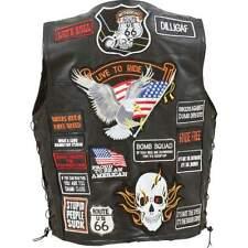 Biker Vest Patches >> Rock Design Genuine Buffalo Leather Biker Vest With 42 Patches M