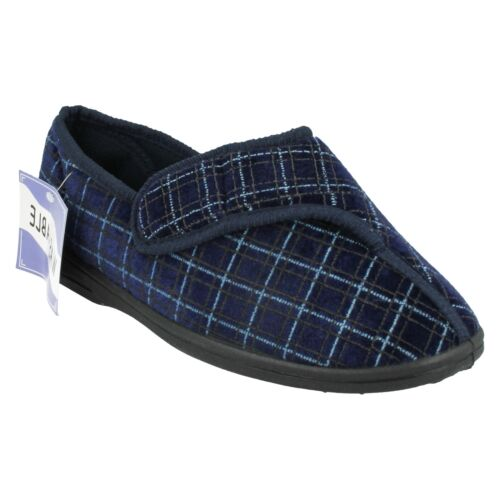 MENS NAVY WASHABLE  INDOOR SHOES EXTRA WIDE RIPTAPE HOUSE SLIPPERS 2010-37