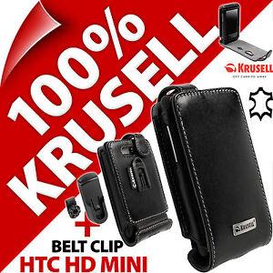 Krusell-Orbit-Flexible-funda-de-piel-con-tapa-Clip-Cinturon-para-HTC-HD-Mini