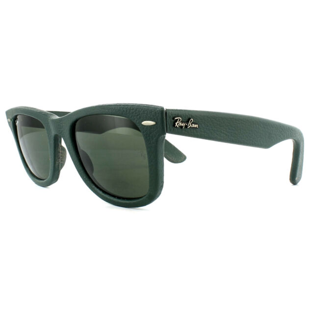 87893b6f1a Ray-Ban Wayfarer 50 Mm Green Leather Frame Sunglasses Rb2140qm for ...