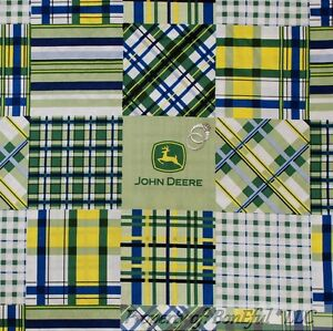 Boneful Fabric Fq Cotton Quilt Blue Green Yellow White John Deere