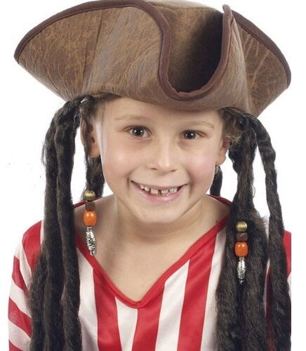 Per Bambini Pirata Costume Tricorn Hat & Dreadlock capelli JACK SPARROW H38 520