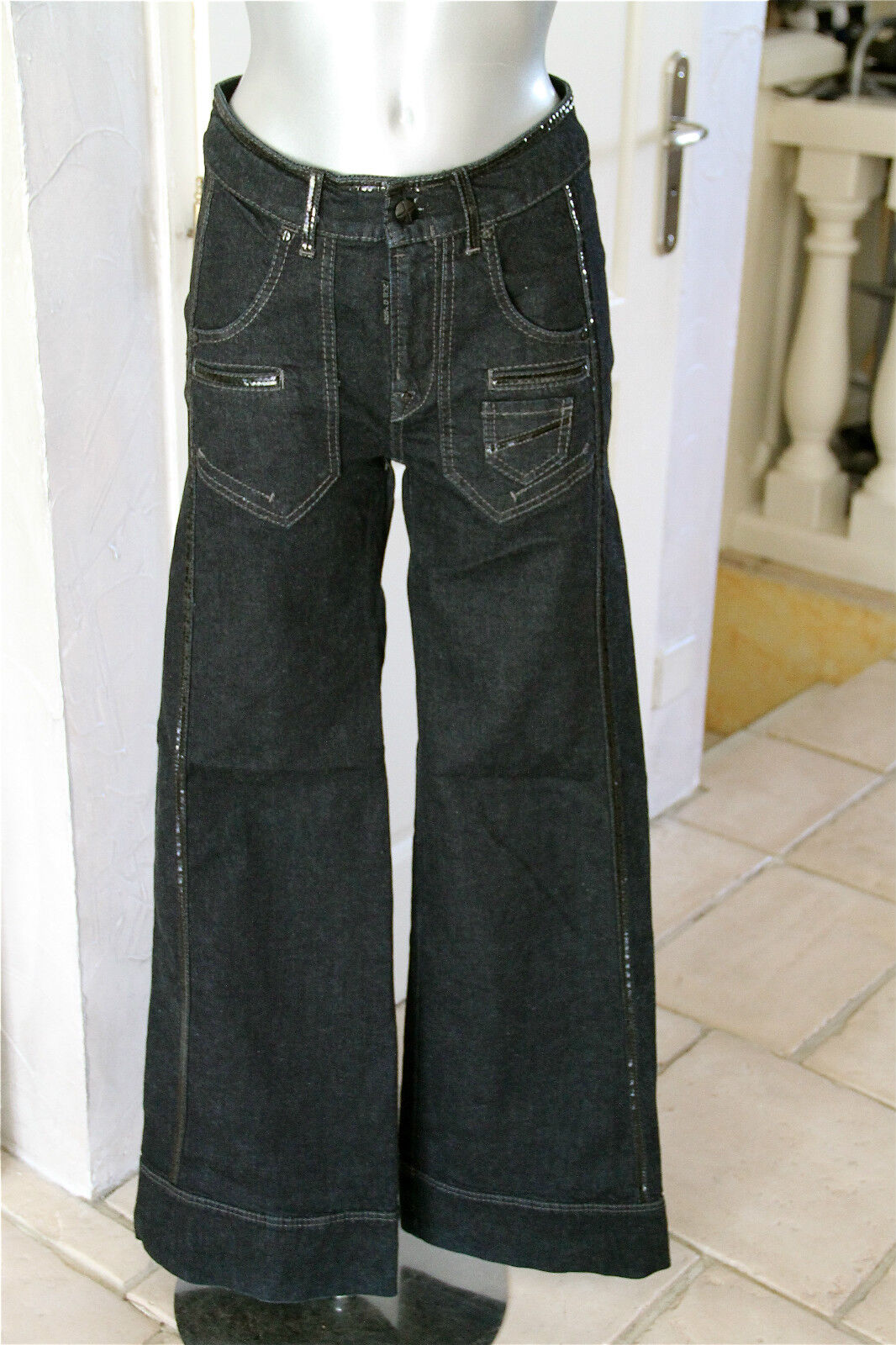 Jeans cotone e vinile elasticizzato elasticizzato elasticizzato bagliore MC PLANET taglia 44 fr 48i valore 098669