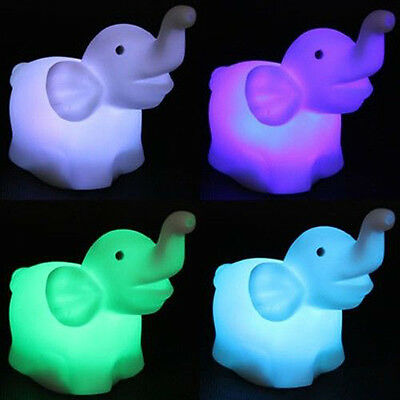 Cute Elephant Shape Color Changing LED Night Light Lamp Wedding Party Decor