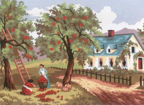 GRAFITEC TAPESTRY NEEDLEPOINT PRINTED CANVAS AUTUMN HOUSE APPLE TREES PEOPLE