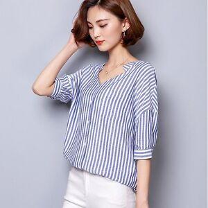 new product 6312b b2fda Dettagli su Camicetta camicia maglia donna bianco blu righe maniche corte  slim 4306