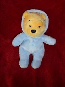 Doudou-Peluche-Winnie-l-039-ourson-Combinaison-Pyjama-Bleu-DISNEY-NICOTOY-20-CM