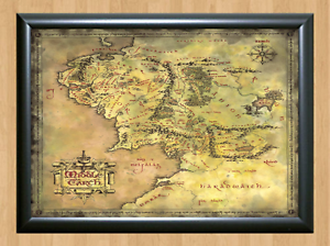 Lord Of The Rings Middle Earth Map Hobbit Decor Art A4 Print Photo