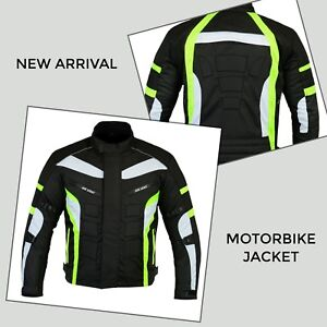 Mens-Motorcycle-Jacket-Motorbike-Racing-Waterproof-Cordura-Textile-Coat-Green-CE