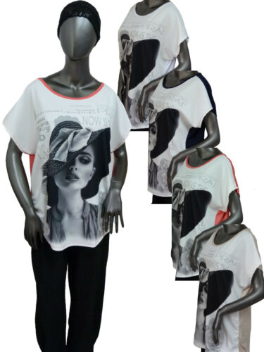 "TREND Shirt Bluse Tunika Oversize Druck /""Frau mit Hut/"" 44 46 48 50 Farbauswahl"