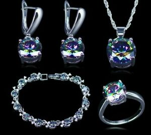 Mystic-Topaz-925-Sterling-Silver-Jewelry-Set-Rainbow-Color-Wedding-Special-Party