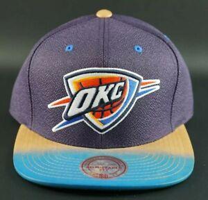 Mitchell-amp-Ness-Oklahoma-City-Thunder-Painted-Leather-Visor-Strapback-Hat-OKC-OG