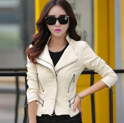 New Women leather motorcycle jacket short Overcoat New Slim leather jacket coat@