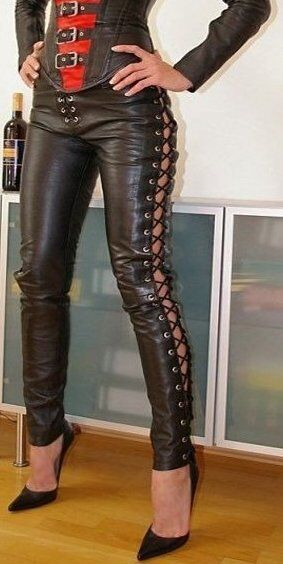 Women Real Lamb Leather Laces Up Pants Sexy Slim Fit Leather Pants