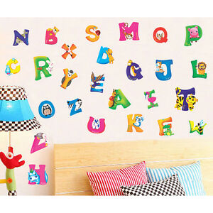 Alphabet-amp-Animals-Vinyl-Mural-Wall-Stickers-Baby-Kids-Room-Decals-Decor-new-TPO