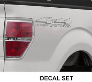 4x4 off road truck bed decals silver set for ford f 150. Black Bedroom Furniture Sets. Home Design Ideas