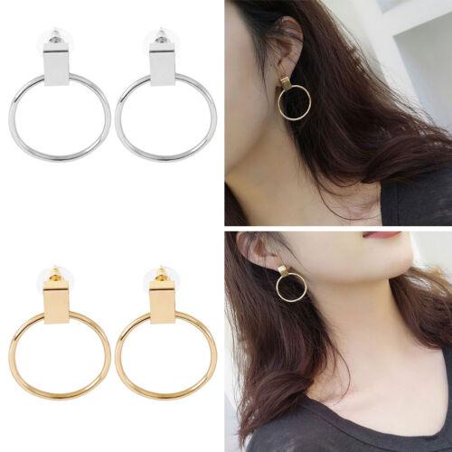 2x Femme Boucles D/'oreilles Anneau Rond Cercle Géométrique Bijoux Simple Cadeau