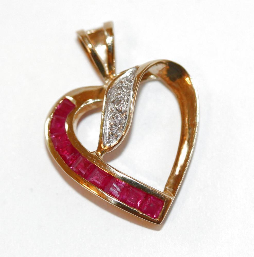 9k Yellow gold Genuine Natural Ruby And Diamond Open Heart Pendant