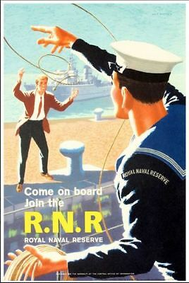 Vintage Royal Navy Reserve Recruitment Poster Print A3//A4