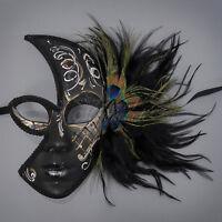 Peacock Feathers Half Venetian Masquerade Mask For Women M2185 [white Swirls]