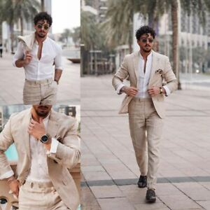 Business Linen Men Suits Pants Formal Tuxedos Blazer Work Wear Tailored Groom
