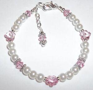 Image Is Loading Newborn Baby Child Bracelet Flower Pearl Amp
