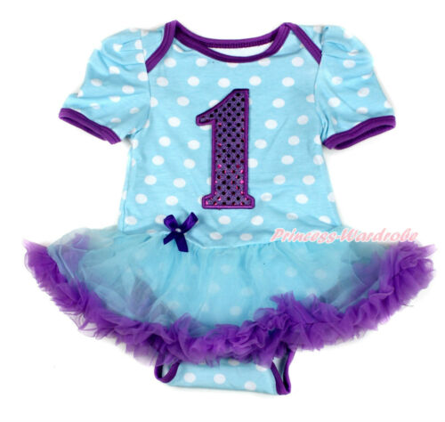 Purple Sparkle 1ST Blue White Dot Bodysuit Blue Purple Skirt Baby Dress NB-12M