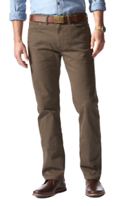 DOCKERS Downtime Khaki Smart 360 Flex Waist Pants Straight Stretch Olive Green